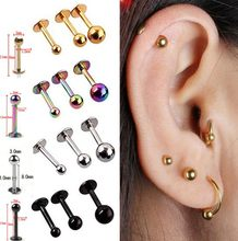 5Pcs/lot 16G 18G Tragus Helix Bar 3-4mm Ball Stainless Steel Labret Lip Bar Rings Stud Cartilage Ear Piercing Body Jewelry(China)