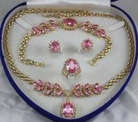 Il trasporto libero 652 donne monili Rosa Di Cristallo Gemma oro giallo Collana Dell'orecchino Dell'anello Del Braccialetto
