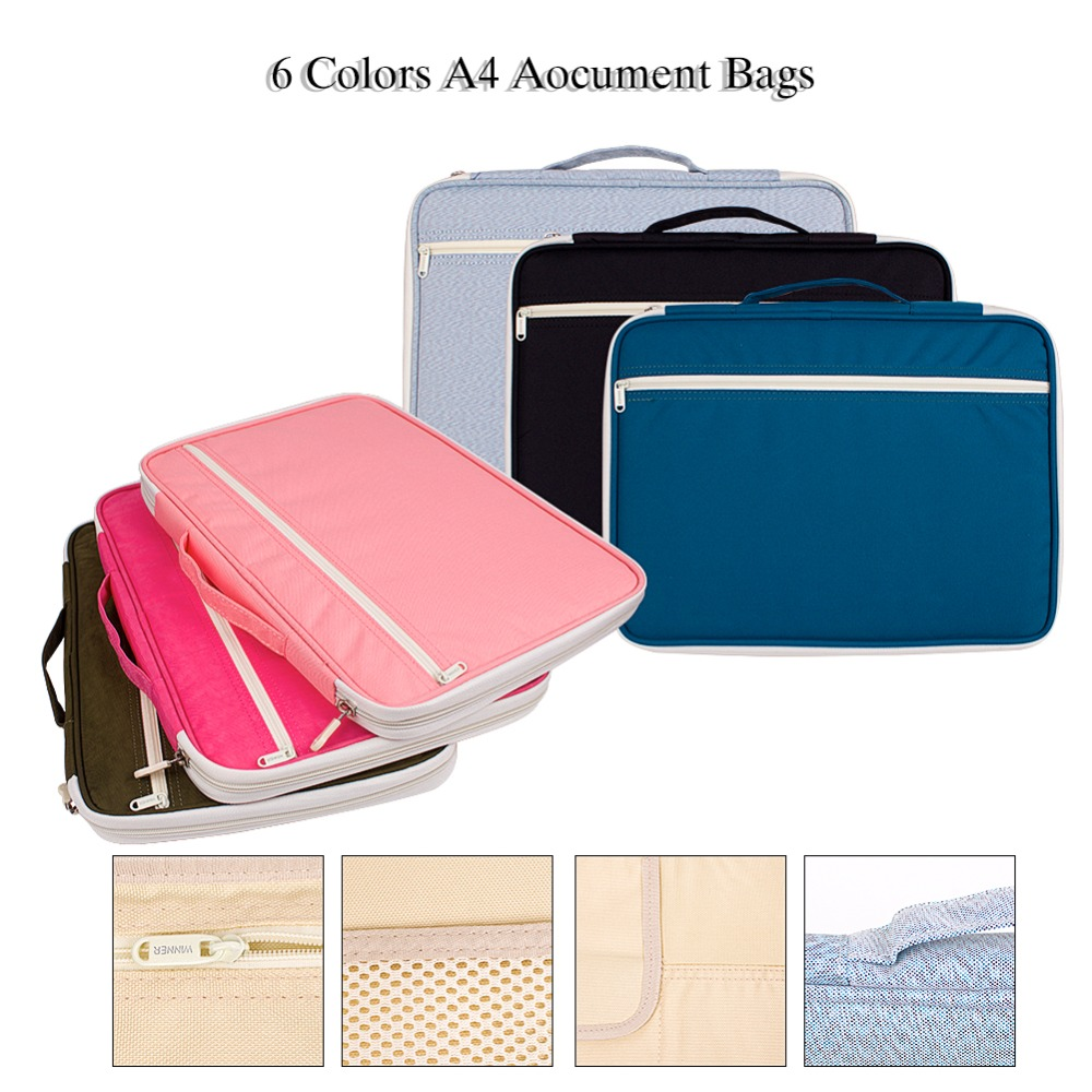 Multi-functional A4 Documents Bags Portfolios Organizers Waterproof Travel Pouch Zippered Case For Ipads, Notebooks, Pens