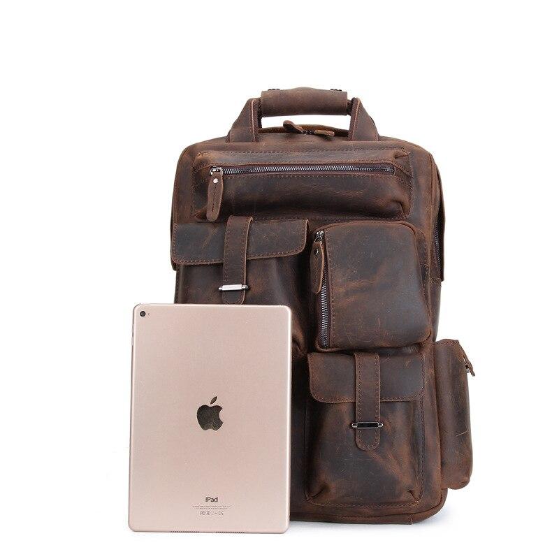 Fashion Brown Große Schulter Msxy20179 Männlichen Echtem Yishen Reisetaschen Rucksack Männer Laptop Tasche Mit Case Vintage Leder Dark Kapazität khaki f8fqOTwHn