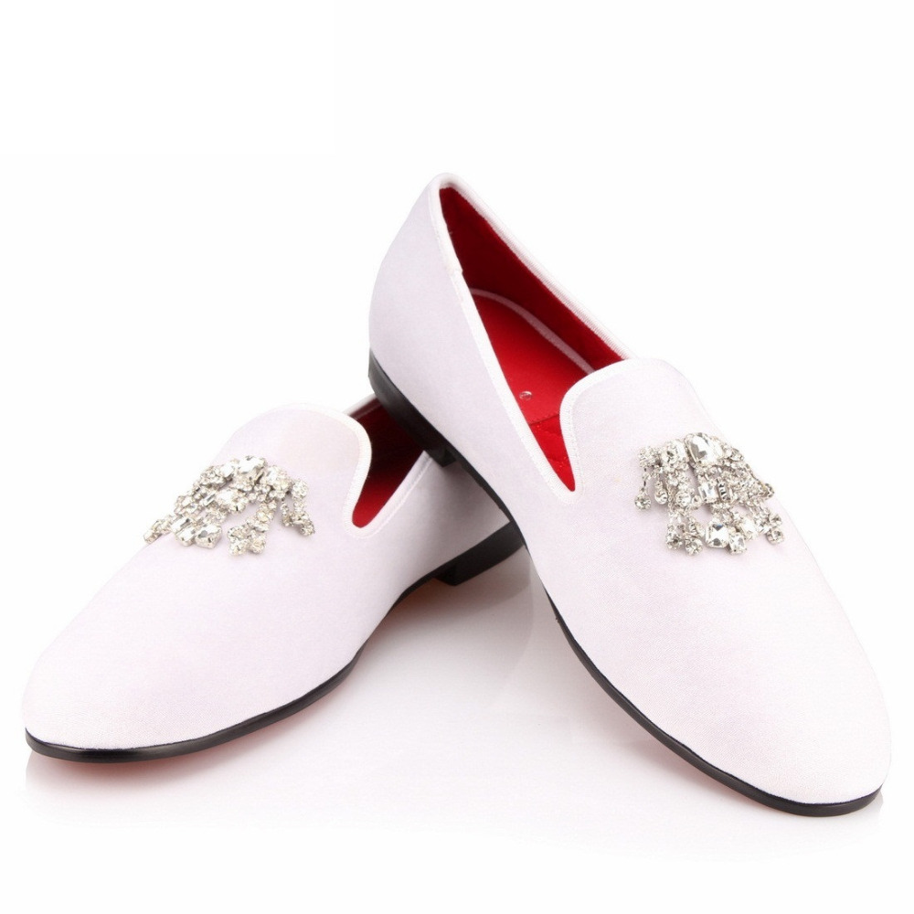 COOL TIRO White Velvet Dress Shoes Men Loafers Smoking Slippers Rhinestones Crystal Tassel Party Wedding Flats