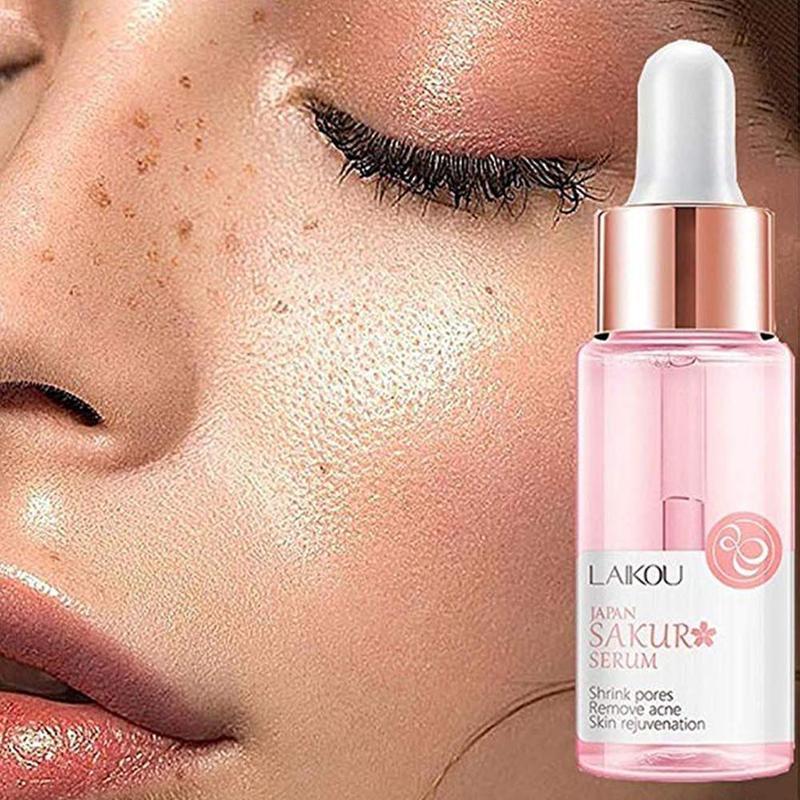 15ml Sakura Face Serum Shrink Pores Remove Acne Liquid Moisturizing Face Essence Brighten Skin Serum Japanese Sakura Skin Care
