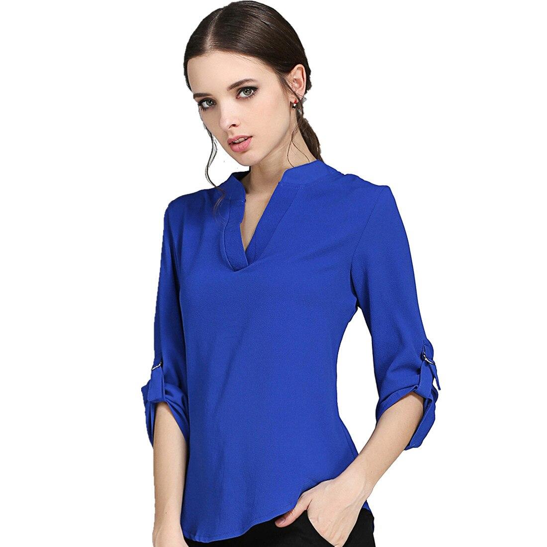 Nuevo Blusas cuello Gasa blanco V Camisa Manga Ocasional Pliegues Europa Floja azul Camisas Larga Negro Tamaño rojo Estilo gris De Y Más La 5xl naranja CqFwxn5A
