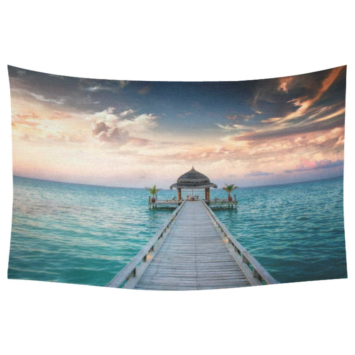 Bule Ocean Waves Wall Art Home Decor, Idyllic Arbor on Water, Maldive Island Cotton Linen Tapestry Wall Hanging Art