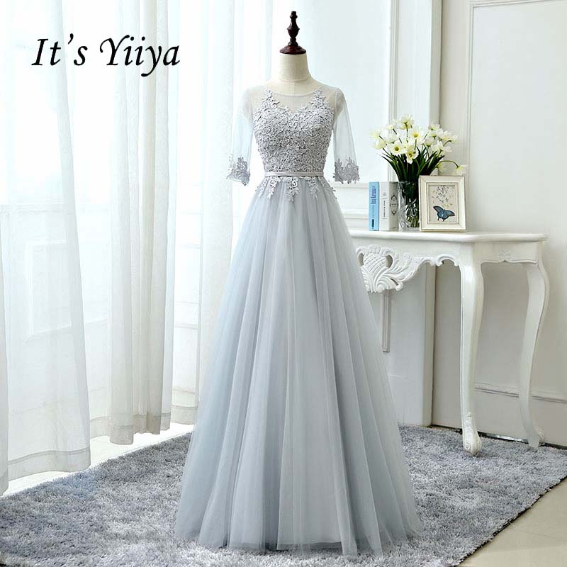 It\'s YiiYa Gray Half Sleeves Illusion Backless Elegant Lace Up ...
