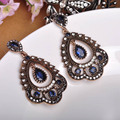 New Arrival Turkish Jewelry Unique Earrings Exquisite Carved Craft Shiny Crystal Max Brincos Vintage Statement Jewelry for Women