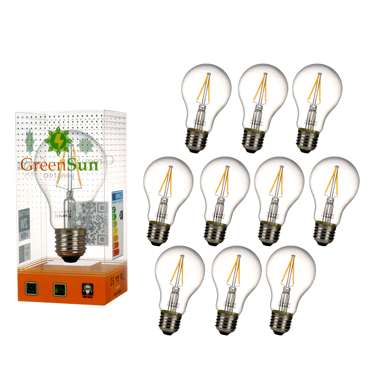 10Pcs E27 2W Edison Filament Warm White LED Energy Saving Bulb Light Lamp high brightness 1pcs led edison bulb indoor led light clear glass ac220 230v e27 2w 4w 6w 8w led filament bulb white warm white