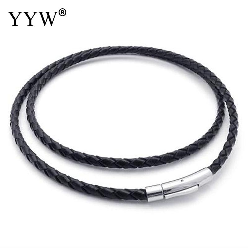 3mm Twisted Braided Rope Black Pu Leather Cord Chain 16 Fit Choker Necklace Making Stainless Steel Bayonet Clasp String Rope layered pu rope tie choker necklace
