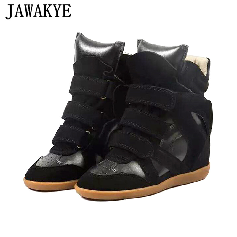 Genuine Leather Ankle Boots Women High-Top Wedge Heel Casual Shoes Fashion Increase Within Women Shoes zapatillas mujer 2019Genuine Leather Ankle Boots Women High-Top Wedge Heel Casual Shoes Fashion Increase Within Women Shoes zapatillas mujer 2019