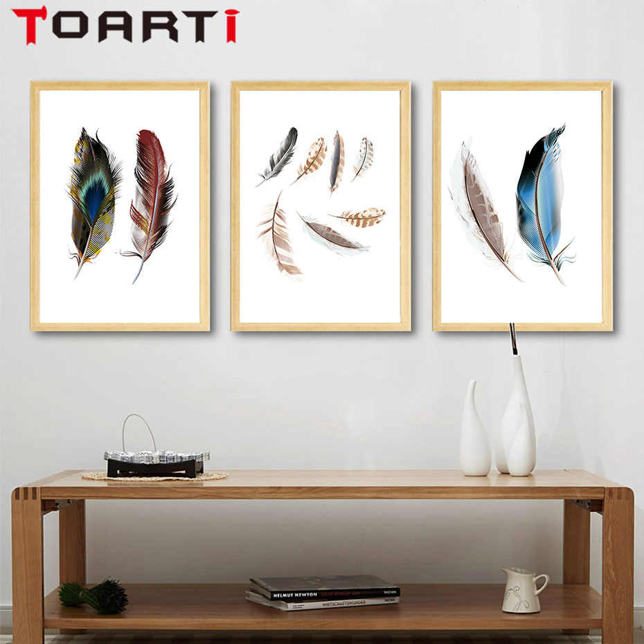 Nordic Modern Color Feather Canvas A4 Art Paintings Printable Wall Pictures Canvas Art Poster Painting Home Wall Decor No Frame