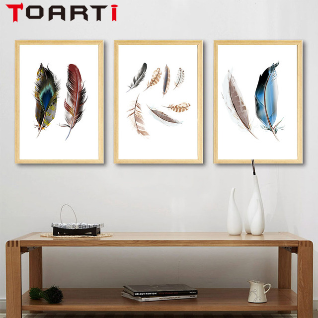 Nordic Modern Color Feather Canvas A4 Art Paintings Printable Wall Pictures Canvas Art Poster Painting Home & Nordic Modern Color Feather Canvas A4 Art Paintings Printable Wall ...