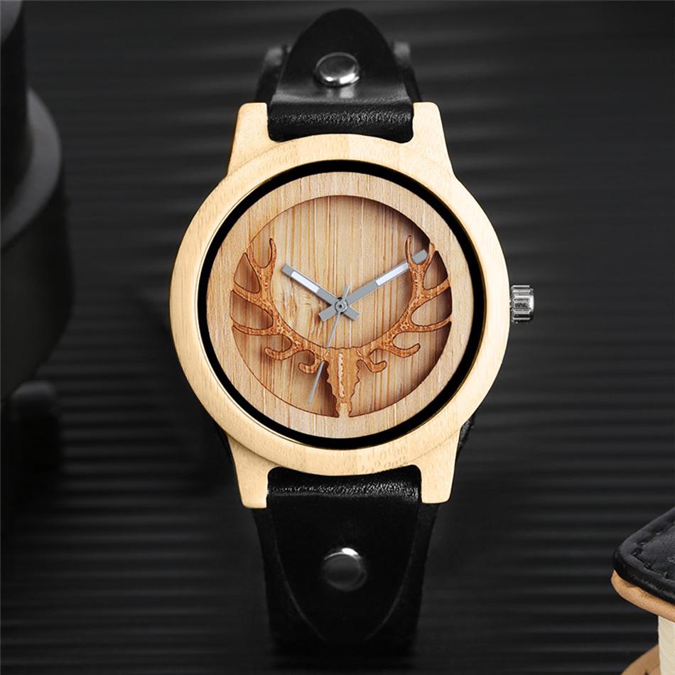YISUYA Deer Wooden Watch Men's Bamboo Leather Wood Quartz Watches Gift relogio de madeira (6)