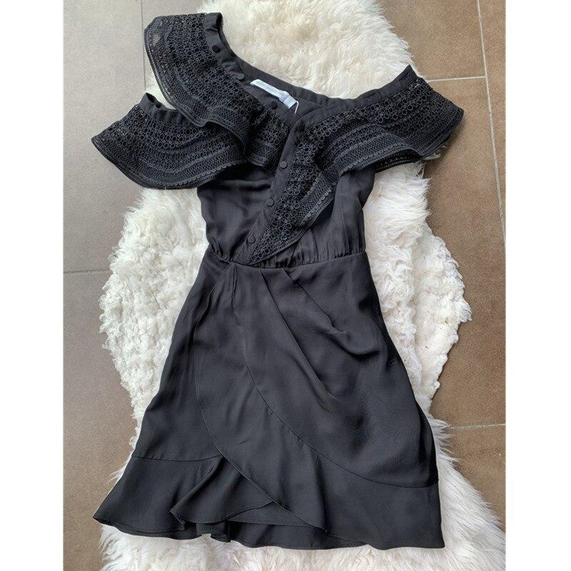 e35d506696 Style Outre Dames portrait De L'épaule Mini Robes Noir Partie Vintage Sexy  Robe Taille Qualité ...