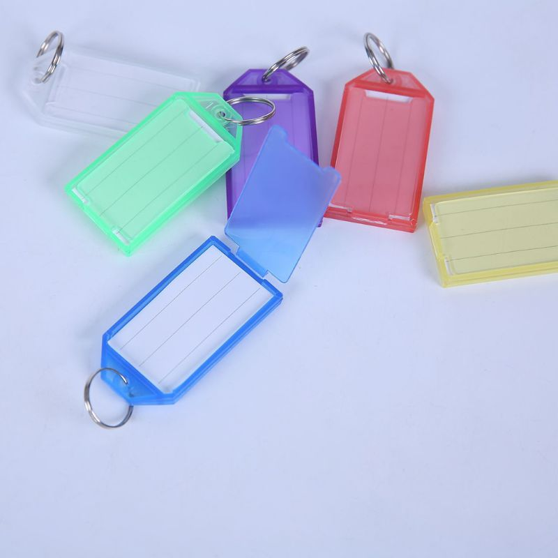 20Pcs Tough Plastic Key Tags with Split Ring Label Window Assorted Colors