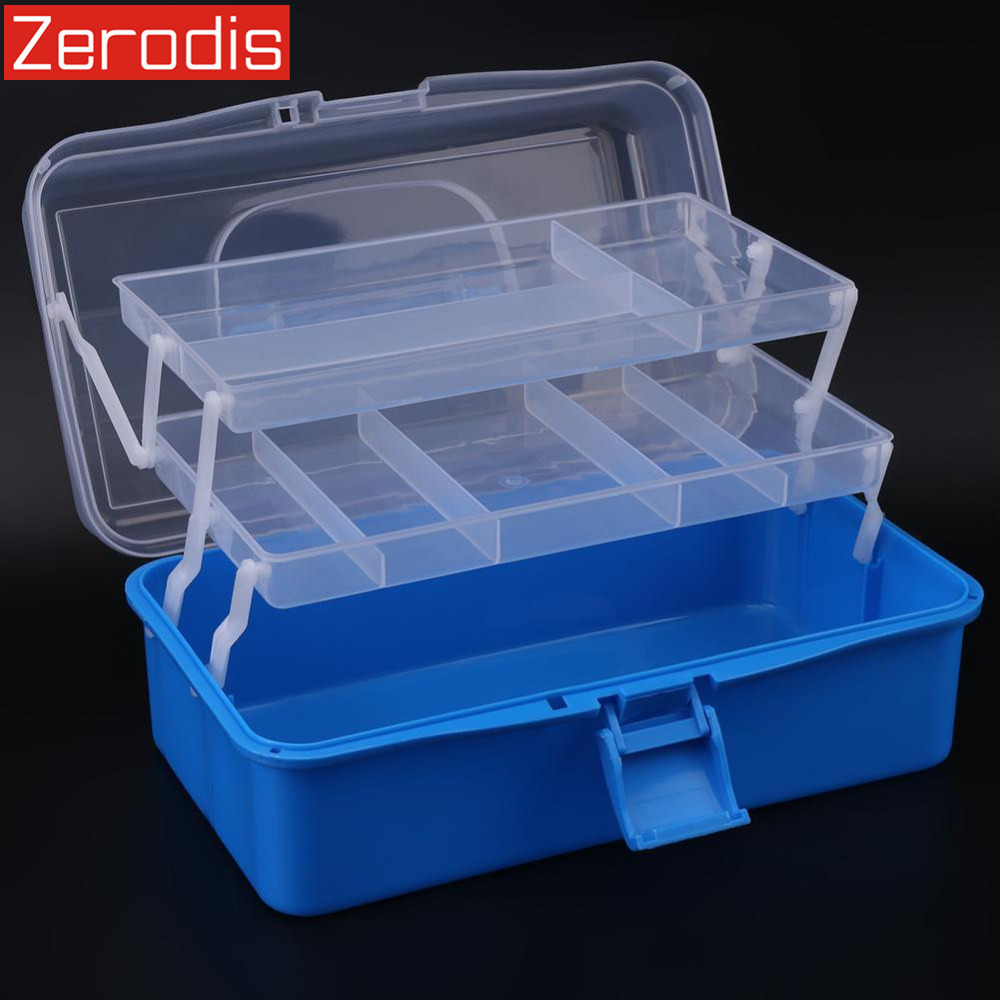 Container-Case Organizer Storage-Box-Tool Foldable Plastic Three-Layers Handle Jewelry