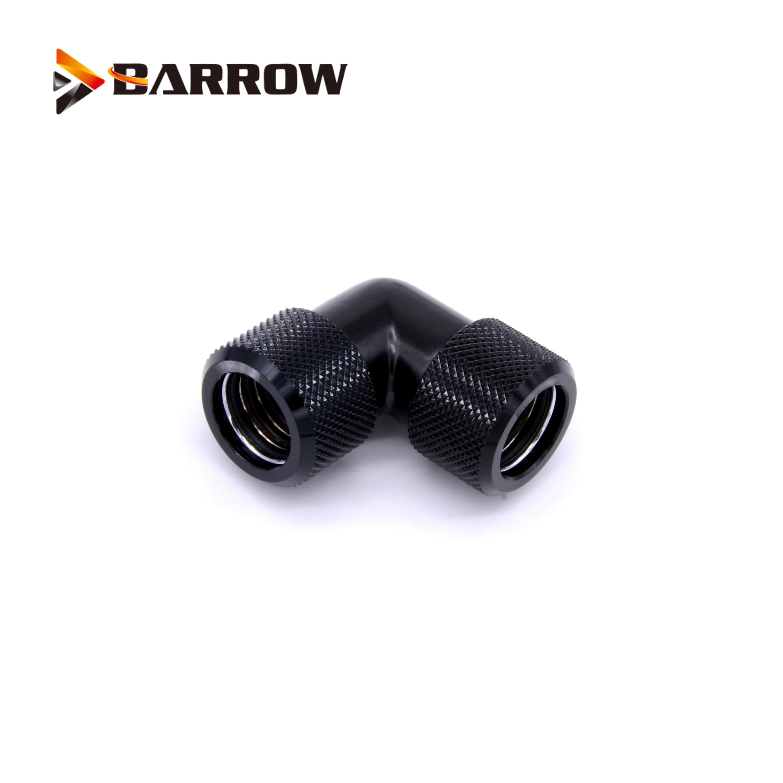 Купить с кэшбэком BARROW Black Silver G1/4' thread Dual 90 Degree Rotary Fitting Adapter Rotating 90 Angle Adaptors use for OD12/14/16MM Hard Tube