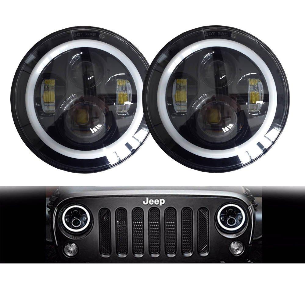2PCS 7 80W LED Headlight for Jeep CJ/ Wrangler JK Led Driving Light for Land Rover Defender H4 H13 Headlights for jeep wrangler jk 2