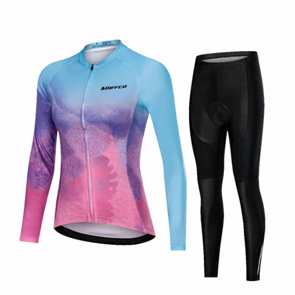プロチームサイクリング服女性長袖自転車ジャージセットスポーツ MTB 着用服女性乗馬スーツ