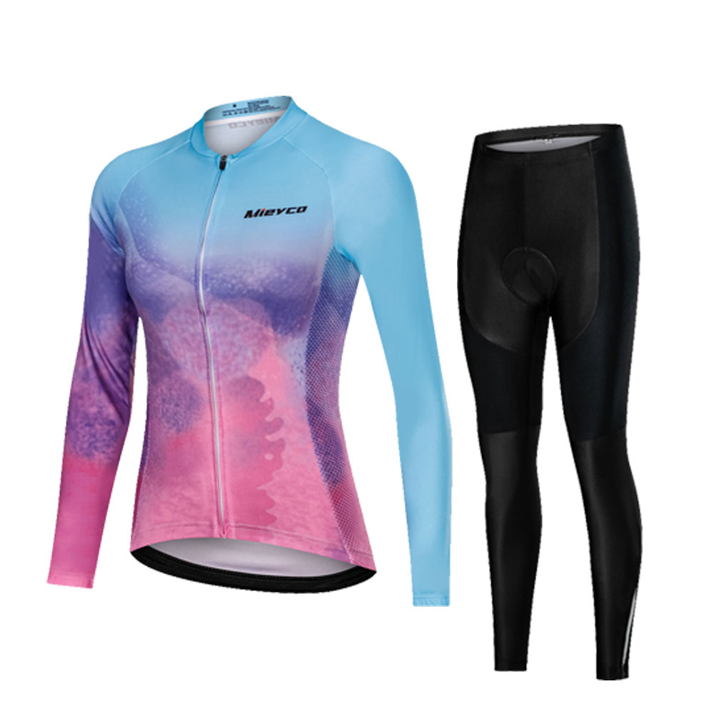 Pro Team Cycling Clothing Women Long Sleeve Bicycle Jersey Set Sport MTB Wear Quick Dry Road Bike Clothes Female Riding Suit