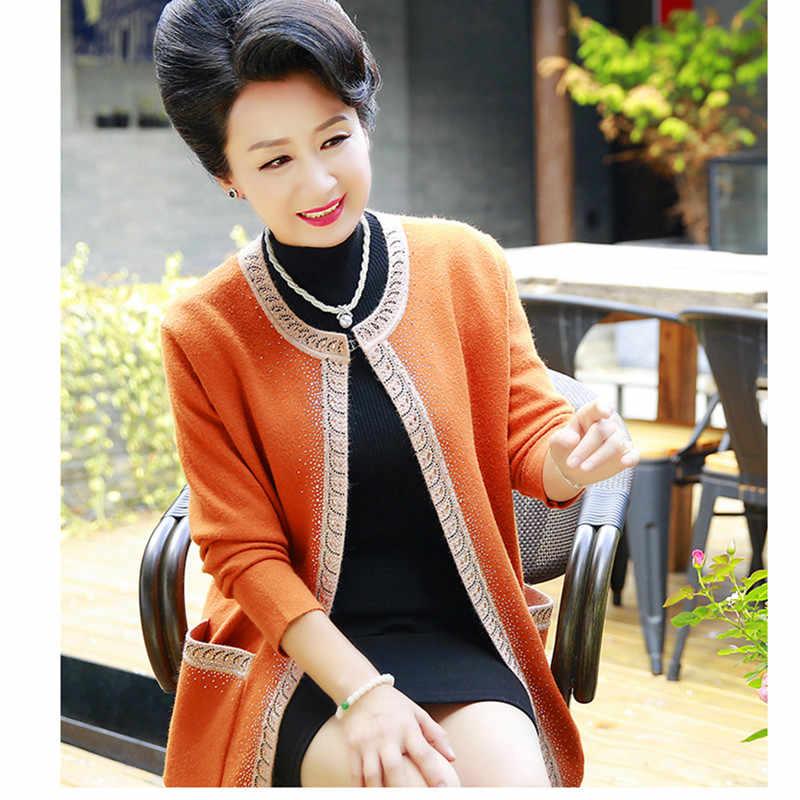 YAGENZ женский кардиган среднего возраста, свитер 2019, модный новый весенний осенний свободный длинный рукав, большой размер, женский кардиган, Пальто 4XL