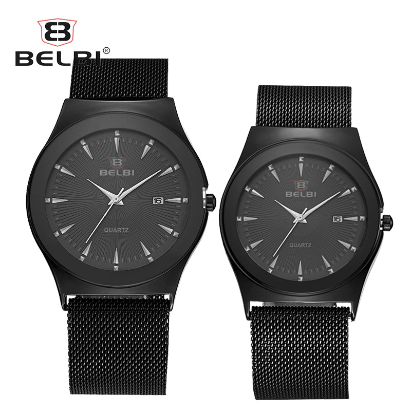 BELBI Business Couple Watches Top Fashion Auto Date with Super Long 300mm Ultra-thin Steel Milan Watch Strap For Men and Women