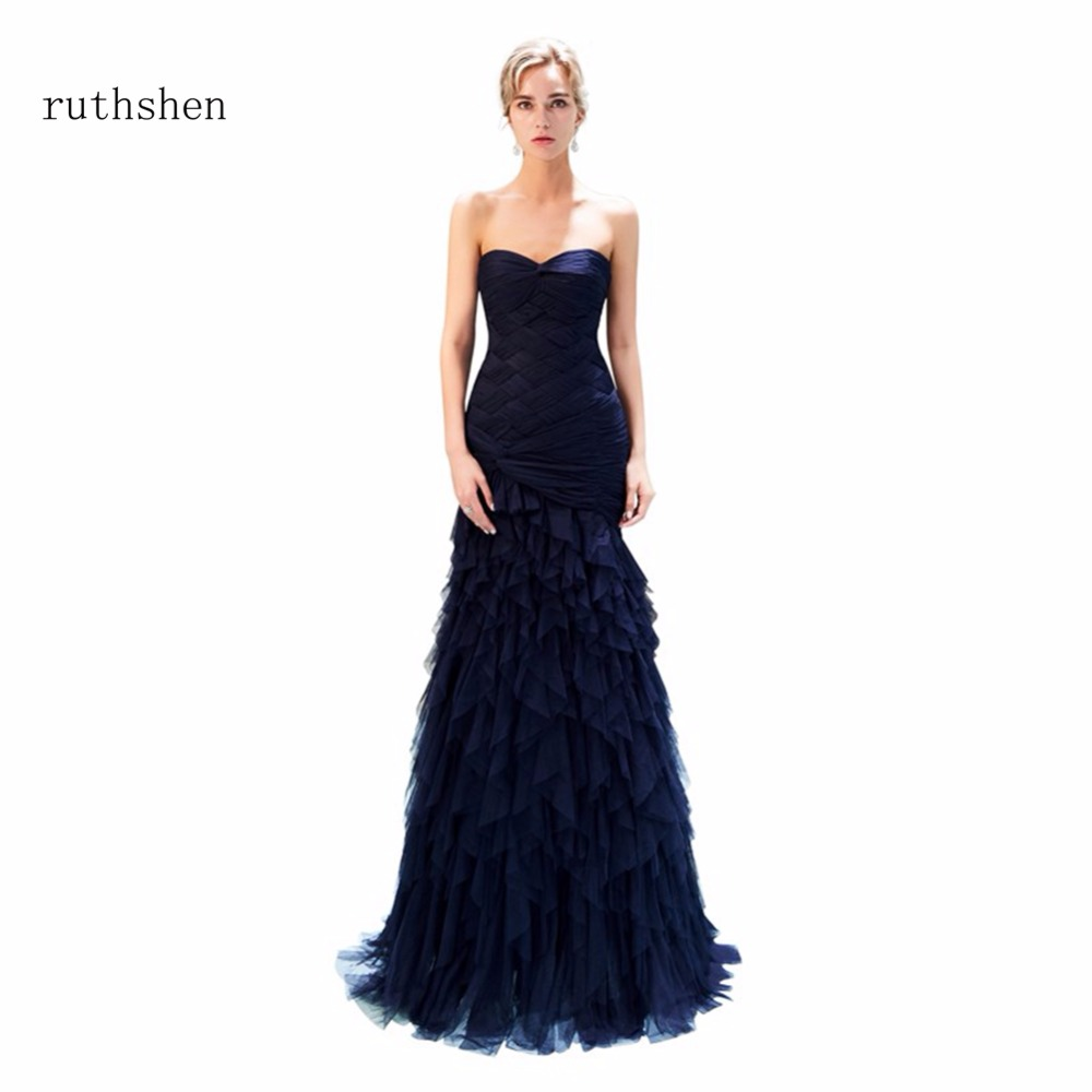 ruthshen Real Photos 2018 Strapless Prom Dresses Sleeveless Long Party Evening Dress For Special Occasions Ruffles