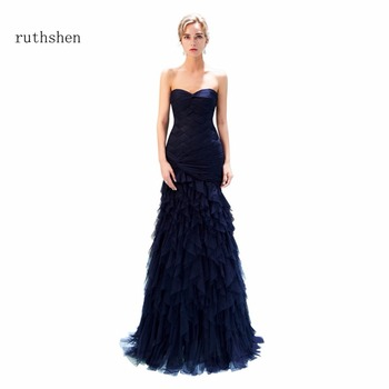 ruthshen Real Photos 2018 Strapless Prom Dresses Sleeveless Long Party Evening Dress For Special Occasions Ruffles Prom Gowns
