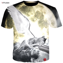 01f337368 YFFUSHI 2018 Male Short Sleeve 3d t-shirt Fashion Fly Wolf 3d Printing  Animal Tshirts