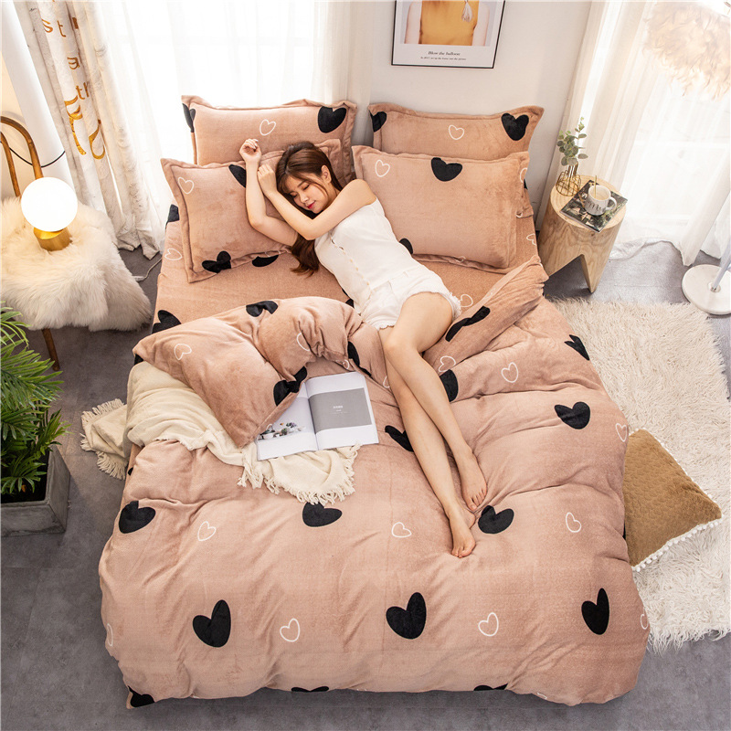 Fleece Warm Winter Bedding Heart Bed Duvet Cover Set Flannel Fleece Bed Flat Sheet 3/ 4pcs Home Bedclothes Caroset Bed Linen Set