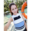 2016 new summer slim slim color knitted shirt tight striped vest harness female strong elastic