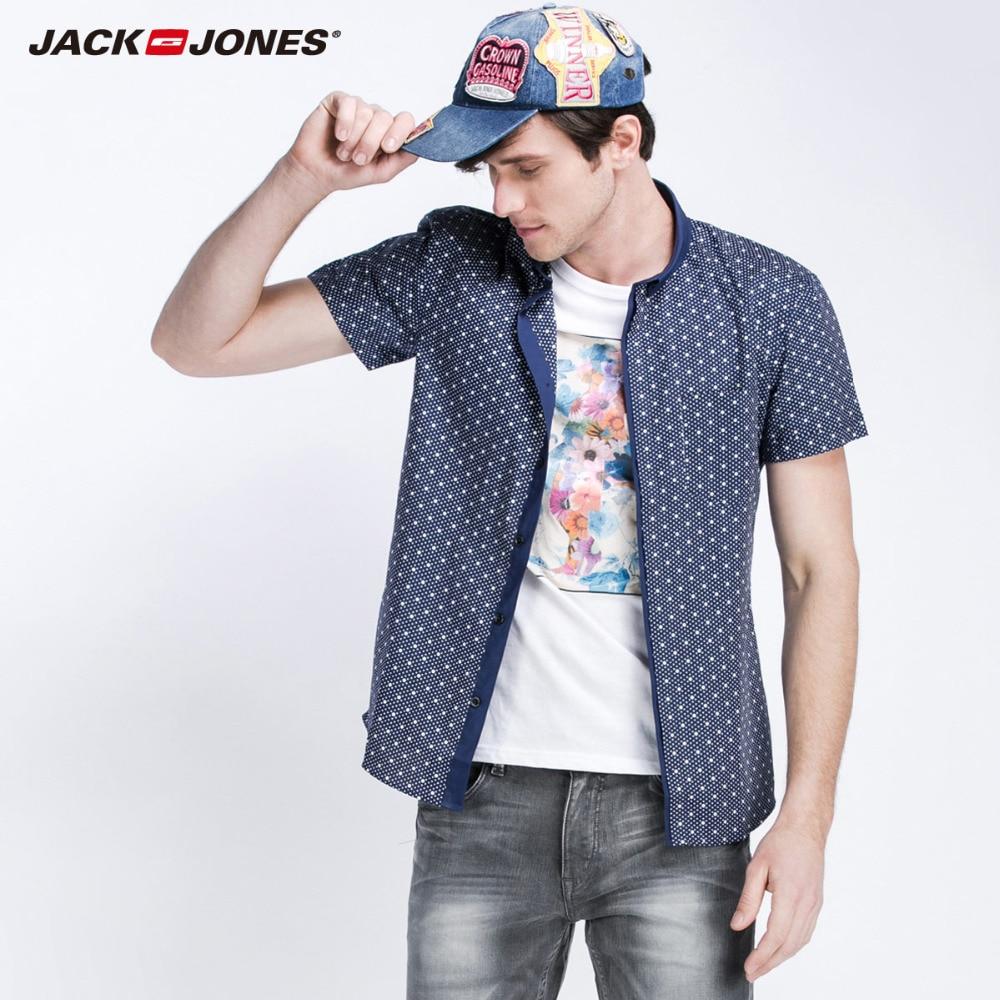 JackJones marke männer kurzarm 100% baumwolle dot gedruckt shirts fashion shirt anzug...
