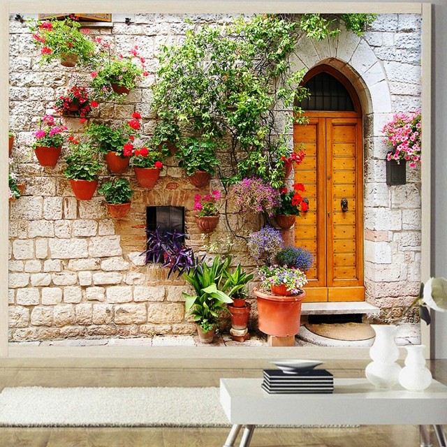 Wallpaper 3d Pastoral Romance Beautiful Cottage Living Room Balcony Decoration Background Mural