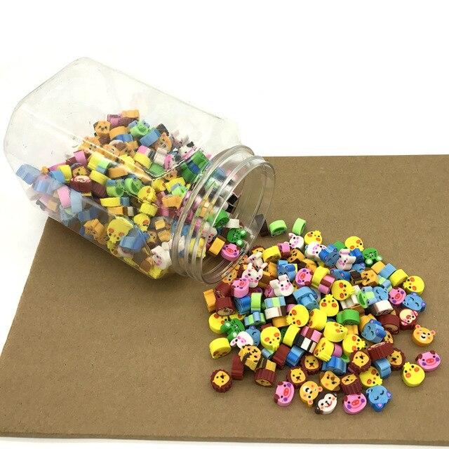 Borracha kawaii, lote de mini animais fofos, apagadores de coração, borracha, para crianças, acessórios para a escola, lápis, suplementos papelaria com 400 peças
