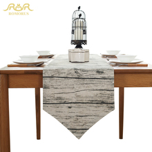 ROMORUS Cotton Linen Table Runner Wood Grain Retro Tablecloths Cover Grey  Striped Table Runners Home Decoration Artistic Fashion
