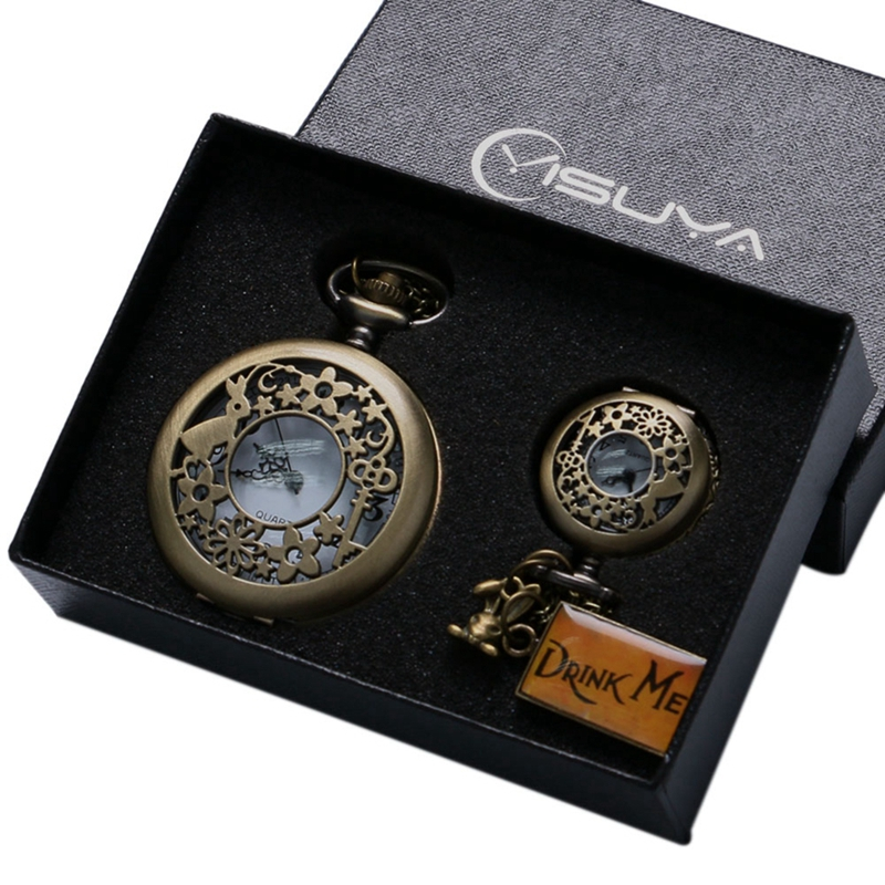 Retro Bronze Alice In Wonderland Drink Me Tag Women Rabbit Flower Pocket Watch Necklace Pendant Novelty Christmas Gifts Box Sets christmas gift fashion quartz pocket watch hot movie alice in wonderland rabbit bronze retro necklace pendant for women navidad