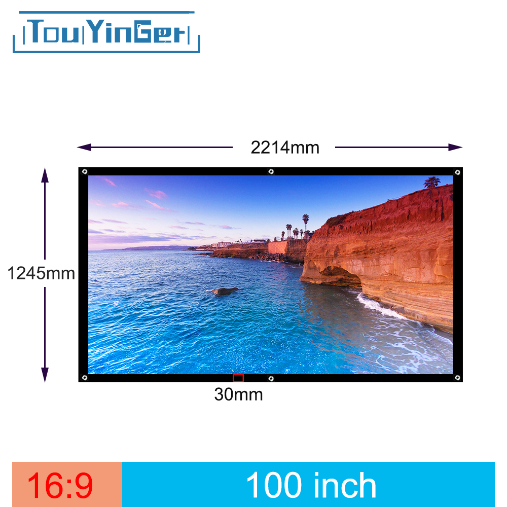 Touyinger 100 Inch 16:9 Outdoor Simple Portable Screen Travel Front & Rear projection screen Night Super thin projection screen