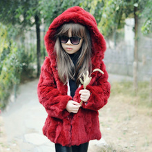 Kids Fur Coat Real Rabbit Fur Jacket Children Girls Hooded Rex Rabbit Fur Coat Jacket Clothing Fur Outerwear Pageant Warm Jacket цены онлайн
