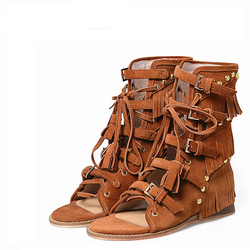 New fashion in 2017 Europe United States Roman sandals casual comfortable wedges zipper summer shoes with frosted leather boots hrm in europe