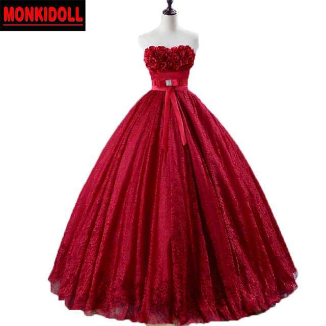 Vintage Maternity Red Wedding Dress 2017 Beaded Flowers Lace ...