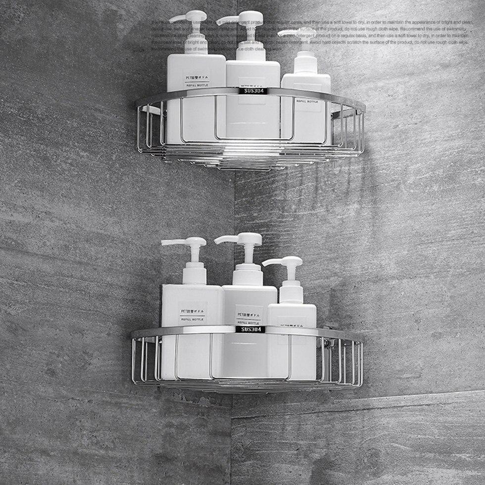 Black Bathroom Shower Caddy Wire Space Aluminum Basket Storage Shelf With Hooks