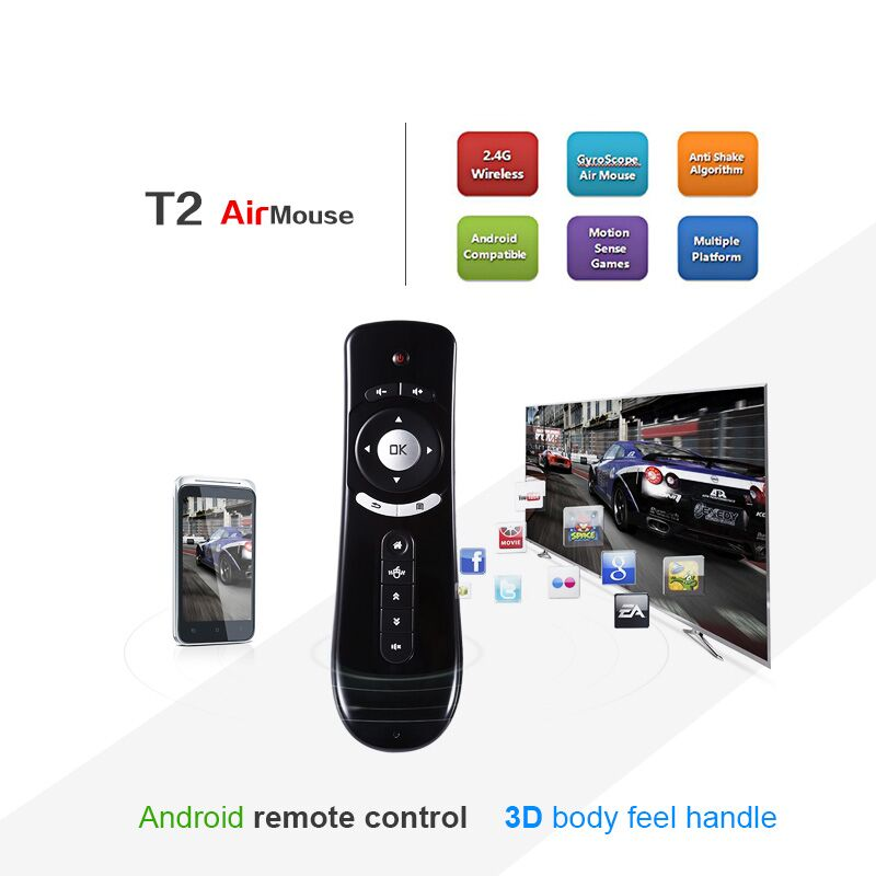 Mini Fly T2 Air Mouse 2.4G Wireless t2 Keyboard Air Mouse For Android TV Box remote control 3D Sense Motion Media Player