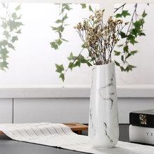 Мраморная Цветочная вставленная керамическая белая настольная ваза, украшение дома, ваза, модные современные вазы