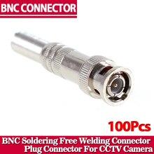 100 sztuk/partia BNC złącze męskie do RG 59 koncentryczny kabel, mosiądz, końcówki do zagniatania, kabel wkręcania, KAMERA TELEWIZJI PRZEMYSŁOWEJ złącze BNC