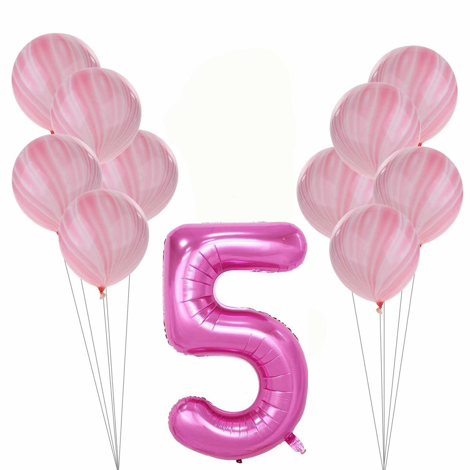 Blue Boy 1st 2nd Birthday Decoration Pink Girl Balloons Number Balloon 1 2 3 4