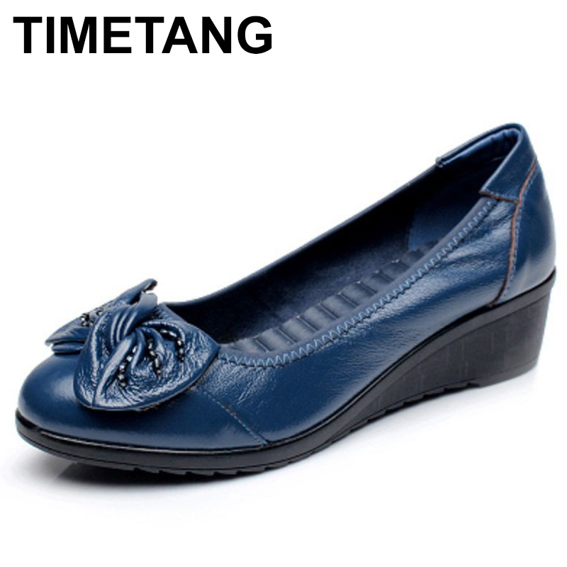 TIMETANG 2018 Spring and autumn single shoes mother slippers soft leather shoes round shallow mouth in the elderly work shoes 2017 new genuine leather mother shoes soft bottom shallow mouth flats large size casual elderly shoes spring autumn women shoes