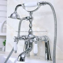 Polished Chrome Deck Mounted Bathroom Dual Ceramic Handles Bathtub Mixer Faucet Clawfoot Tub Mixer Tap with Handshower Bna112 стоимость