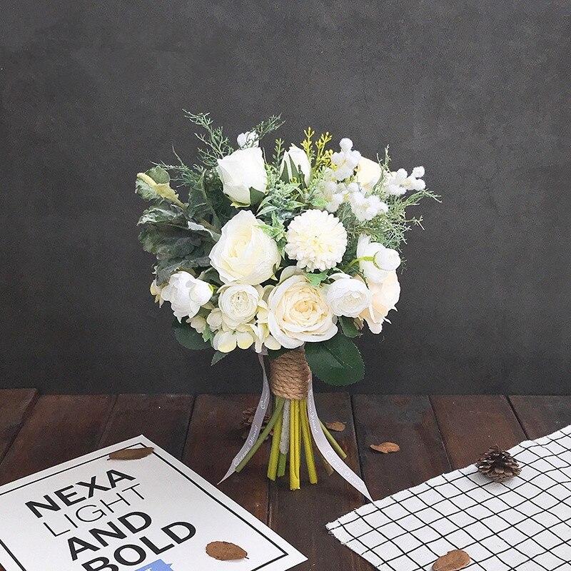 Blanc vert série hybride fleur artificielle mariage mariée demoiselle d'honneur Bouquet fleur événement fête fleur décorative