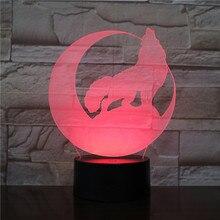 LED Night Light Wolf Lampara Touch Sensor Child Kids Baby Gifts Nightlight Home Decor Novelty Lighting 3D Lamp Kit Gadget