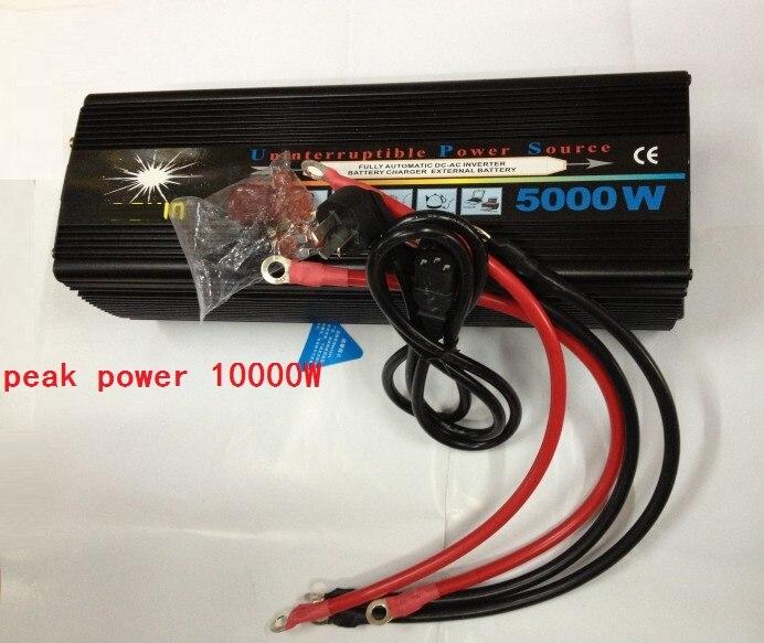 peak power 10000W 5000W DC12V/24V to AC220V Modified Sine Wave Power Inverter UPS With Battery Charging function plastic car dc12v 24v to ac220v power inverter with usb port black
