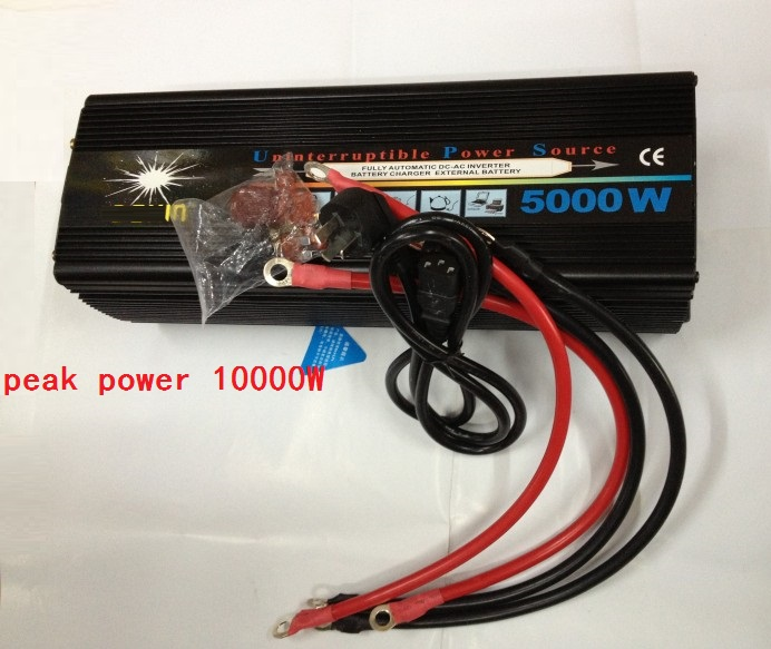 surge power 10000W UPS DC12V to AC220V or DC24V to AC220V 50HZ Power Inverter UPS 5000W Modified Sine Wave With Battery Charge 5000w dc 48v to ac 110v charger modified sine wave iverter ied digitai dispiay ce rohs china 5000 481g c ups